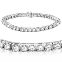 "14K White Gold 12 ct TDW Diamond Tennis Bracelet 7"""