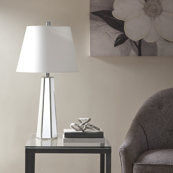 Madison Park Fulham Mirror Table Lamp with Natural Drum Shaped Shade