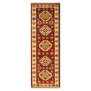 Handmade Herat Oriental Indo Hand-knotted Tribal Kazak Wool Runner (2'4 x 6'7)