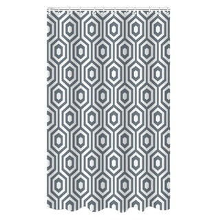Dobie Hexagon Design Shower Curtain with Hooks