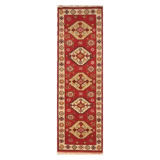 Handmade Herat Oriental Indo Hand-knotted Tribal Kazak Wool Runner (2'2 x 6'8)