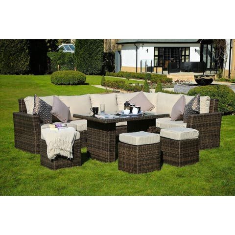 Santa Rosa Outdoor 8-piece Wicker Sofa Patio Dining Set by Direct Wicker