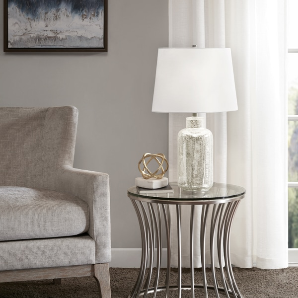 Madison Park Ascot Mercury Table Lamp with Grey Drum Shaped Shade