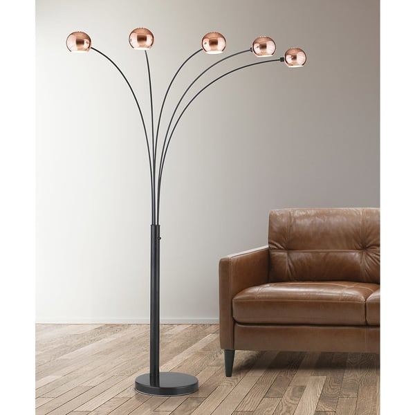 Orbs Copper Finish 5 Light Dimmable Arch Floor Lamp