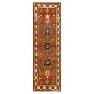 Handmade Herat Oriental Indo Hand-knotted Tribal Kazak Wool Runner (2'2 x 6'9)