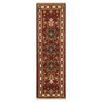 Handmade Herat Oriental Indo Hand-knotted Tribal Kazak Wool Runner (India) - 2'1 x 6'10