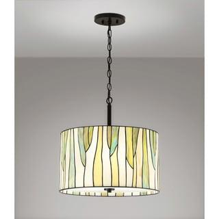 "BAROSSA  18""ø Tiffany 3-Light Pendant Lamp-Green"