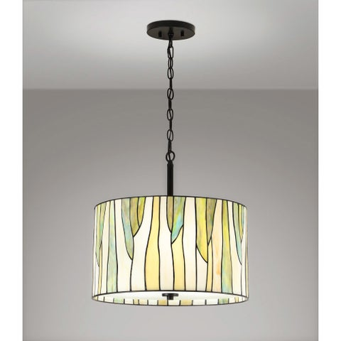 "BAROSSA 18""ø Tiffany 3-Light Pendant Lamp-Green"