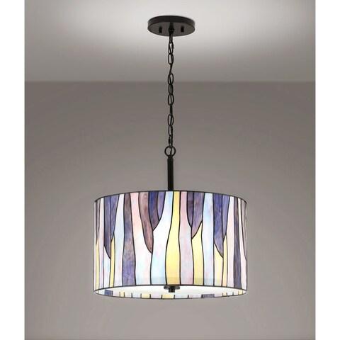 "BAROSSA 18""ø Tiffany 3-Light Pendant Lamp-Purple"