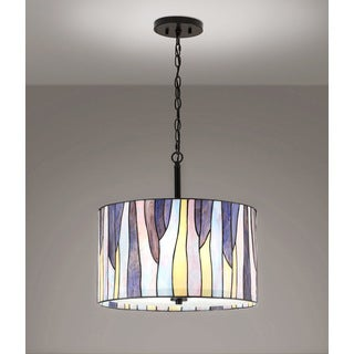 "BAROSSA 18""ø Tiffany 3-Light Pendant Lamp-Purple"
