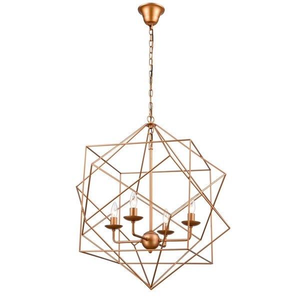 Cdi Furniture Rogue Collection Four Candle Cups Metal Chandelier Brass
