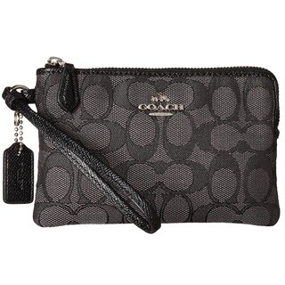 Coach Boxed Signature Jacquard Small Black Wristlet