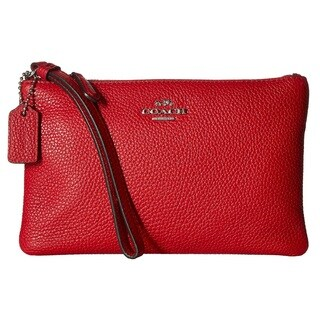 Coach Boxed Small Leather Silver/Red Wristlet