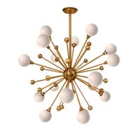 CDI Furniture Lucci Collection Iron Brass Finish Metal/White Glass 40-inch Cord Chandelier Light