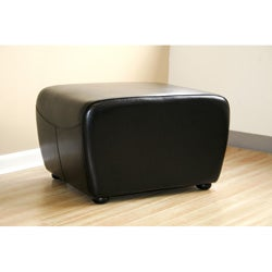 Jacob Black Bi-cast Leather Ottoman - Thumbnail 1