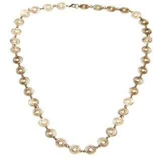 Goldtone Long Interlocking Ring Necklace - GOLD