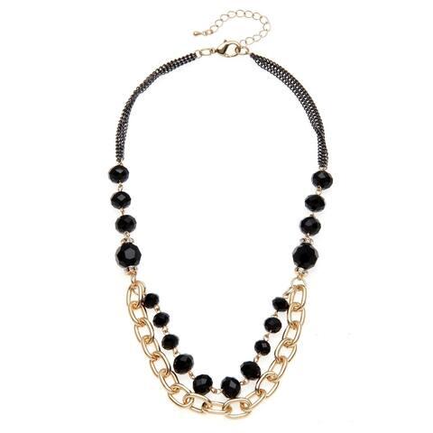 Goldtone Black Glass Bead Swag Necklace - Gold