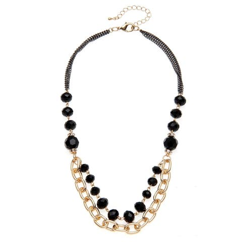 Goldtone Black Glass Bead Swag Necklace - Gold