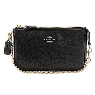 Coach Polished Pebble Nolita 19 Black Wristlet