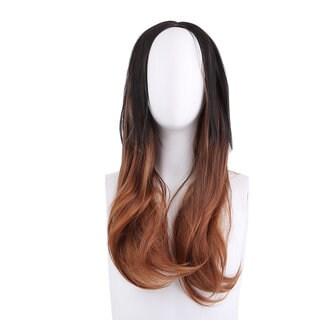 Long Wavy Curly Hair Wig Black Brown Ombre High-Temperature Fiber Hair