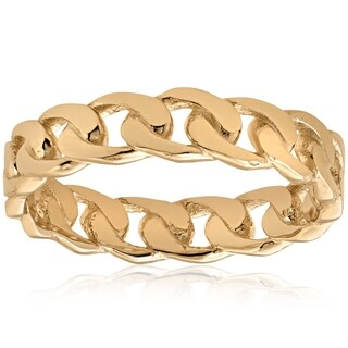 Bliss 14k Yellow Gold Mens Hand Braided Curb Linked Wedding Band Wedding Ring