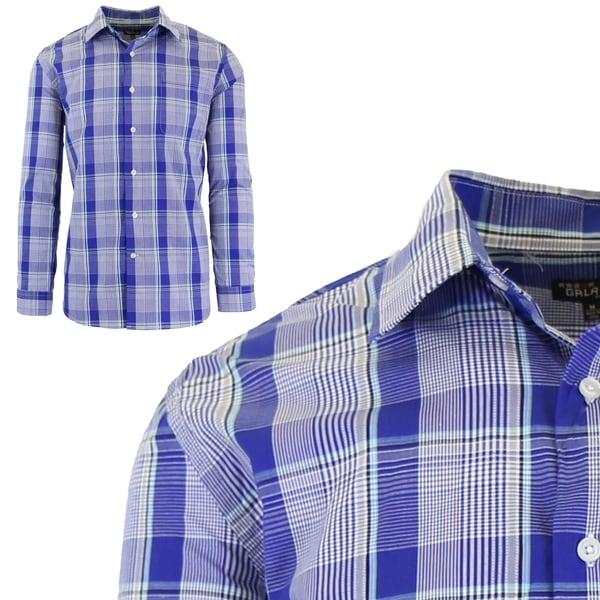 Galaxy by Harvic Mens Long Sleeve Checkered Button Down Dress Shirts