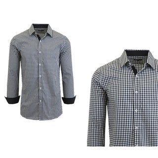 Galaxy By Harvic Men's Long Sleeve Checkered Button Down Dress Shirts (4 options available)