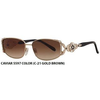 Caviar 5597 C21 Womens Gold Frame Brown Lens Sunglasses