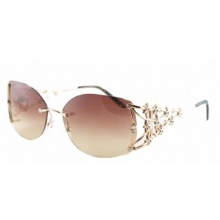 Caviar Champagne Rimless 6312 21 Womens Gold Frame Brown Lens Sunglasses