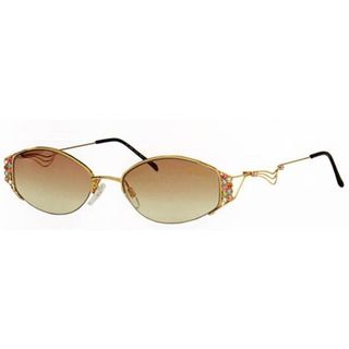 Caviar Colored Stones 1905 C 72 Womens Gold Frame Brown Lens Sunglasses