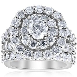 Bliss 10K White Gold 4 1/3ct Diamond Cushion Double Halo Engagement Ring Wedding Set