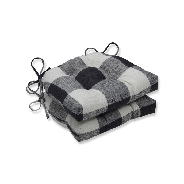 Pillow Perfect Indoor Check Please Thunder Black Reversible Chair Pad (Set of 2)