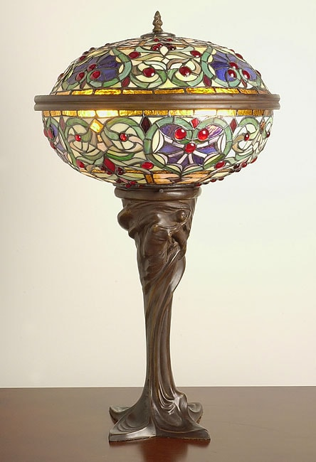 Tiffany-style Barquare Domed Table Lamp