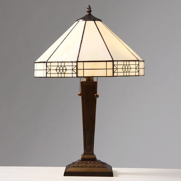 Tiffany-style Mission-style White Table Lamp - Free Shipping Today ...