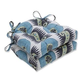Pillow Perfect Indoor Souk Treasure Indian Blue Reversible Chair Pad (Set of 2)
