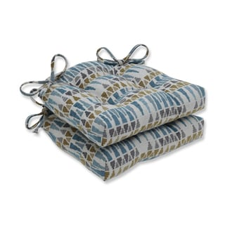 Pillow Perfect Indoor Blue Sky Blue/Gold/Gray Reversible Chair Pad (Set of 2)