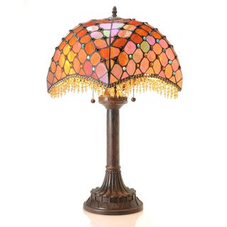 Tiffany-style Amber Beaded Table Lamp