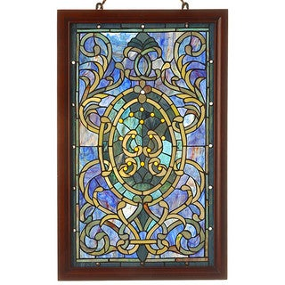 Tiffany-style Purple Wooden Frame Window Panel