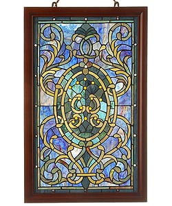 Tiffany-style Purple Wooden Frame Window Panel
