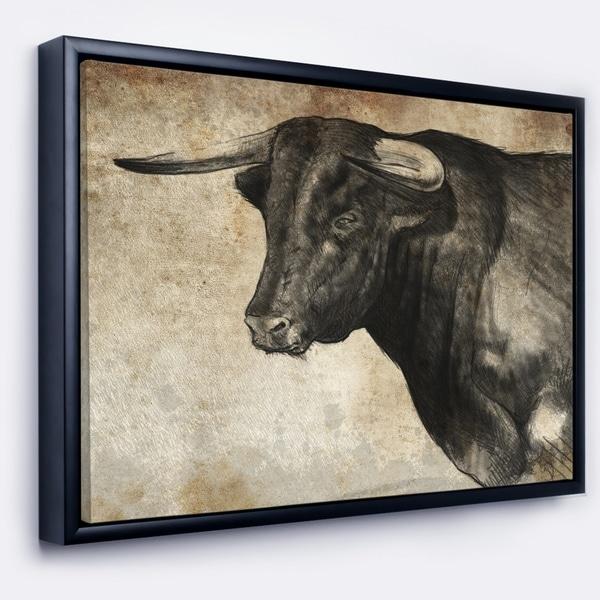 Shop Designart Spanish Bull Sketch Animal Art On Framed