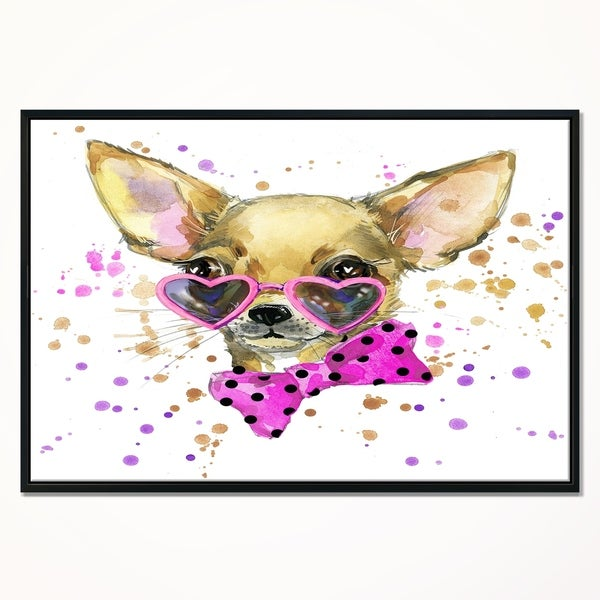 Dog Puppy Chihuahua ANIMAL  Canvas Art Print Box Framed Picture Wall Hanging BBD