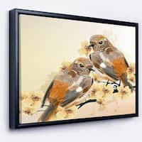 Designart 'Bird Couple on a Branch' Animal Art On Framed Canvas
