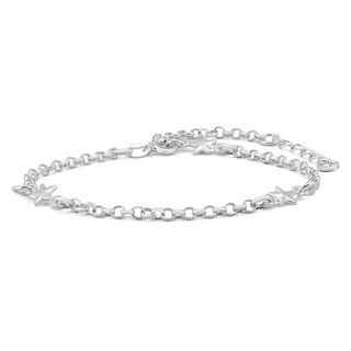 Adjustable Star Charm Link Bracelet in .925 Sterling Silver