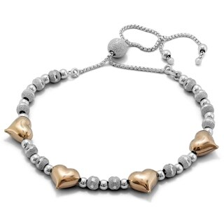Two Toned Heart Shimmer Bolo Bead Bracelet in .925 Sterling Silver - charm