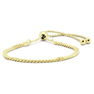 Bolo Rope Bracelet in Yellow Plated .925 Sterling Silver - charm