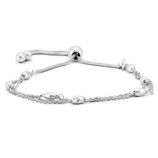 Triple Chain Barrel Charm Bolo Bracelet in .925 Sterling Silver