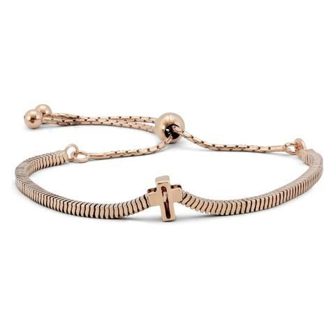 Cross Bolo Bracelet in Plated .925 Sterling Silver - link