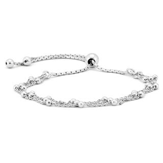 Triple Chain Bead Bolo Bracelet in .925 Sterling Silver - charm