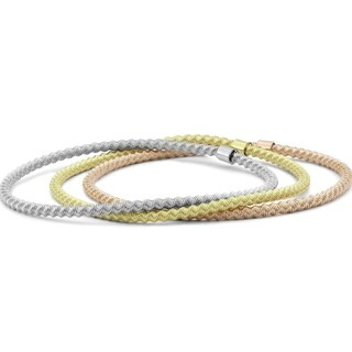 Italian Made Tri-Color Rope Stretch Bracelet in .925 Sterling Silver - charm