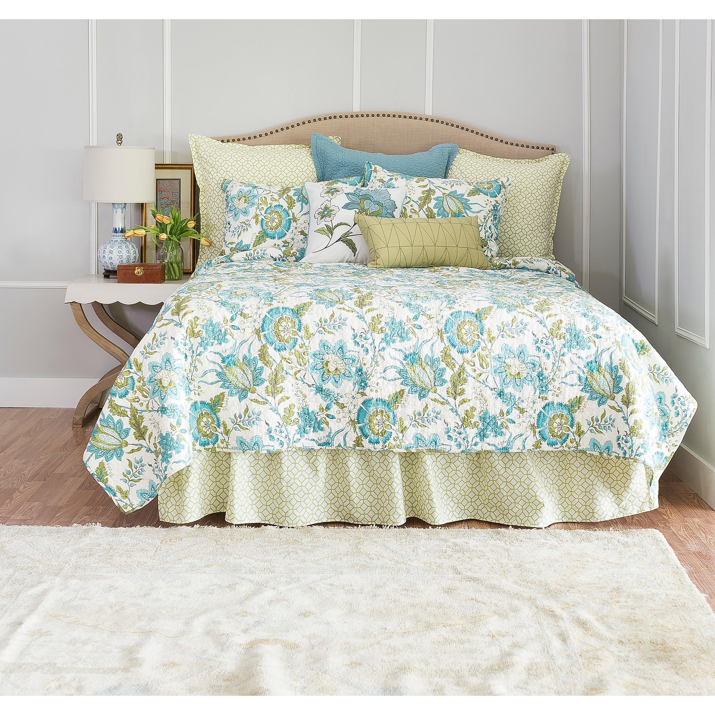 Enterprises Adrienne Meadow Quilt (Shams Not Included) (King), Blue (Cotton, Floral)